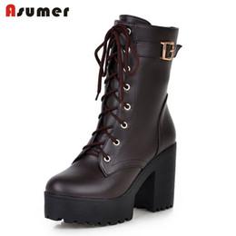 Wholesale Unique Boots - Wholesale- Plus size 34-43 martin boots fashion autumn winter high heels platform round toe women shoes lace up unique pu leather boots