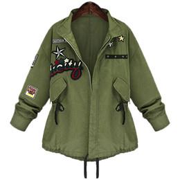 donne verde giacca invernale inverno Sconti 2016 Autunno Inverno Plus size 5XL Donne Giacca Bomber Militare di base Cappotto Army Green Casacos Jaqueta Feminina Chaquetas Mujer