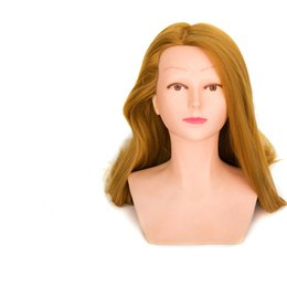 "Wholesale Wig Golden - 26"" golden Yaki Synthetic Mannequin Head Hair Doll Women with bust for training mannequin head"