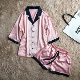 Wholesale Short Pyjamas Women - short pants +half sleeve tops pajamas sets silk satin nightwear pink blue color pyjamas women summer sleepwear 2pcs set