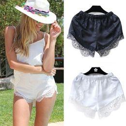 Wholesale Girls Summer Short Pants - Summer New 2016 Fashion Black White Free Size Women Girl Elastic Casual Shorts Crotchet High Waist Lace Short Pants mini shorts
