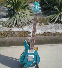 Wholesale One Personal - free shipping Personal Tailor light blue Electric guitar f holes one angle rosewood Fingerboard Can customization and can change color