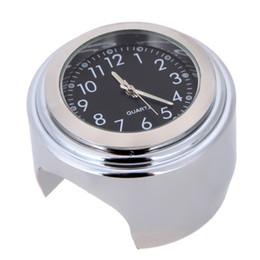 """7/8 """"cromado à prova d 'água guidão da motocicleta montar relógio de quartzo relógio de alumínio relógio luminoso para moto universal preto de"""