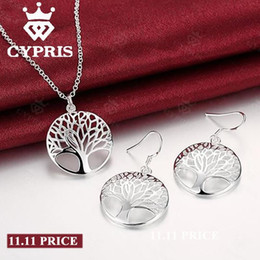 Wholesale Wives Earrings - SALE 2017 Best Silver Tree Of Life jewelry set necklace earring 18inch totem gift wife girl friend women wedding Valentines 92