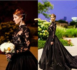 Wholesale New Style Mermaid Evening Gown - 2017 New Custom Made Black Vintage Gothic Style Prom Dresses Long Sleeve High Neck Lace Tulle Taffeta A-Line Evening Gowns with Sweep Train