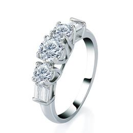 Wholesale Sparkling Rhinestone Ring - Wedding Ring Sterling Silver Rhinestone Shiny Sparkle White Cubic Zirconia Genuine Fashion Jewelry Gemstone Eternity Ring Size 6 7 8