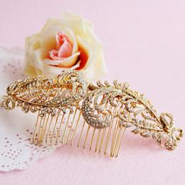 Wholesale Vintage Bridal Hair Comb Feather - Vintage Brand New Bridal Wedding Crystal Rhinestone Leaf Hair Comb Headpiece Hair Accessories Gold Silver Handmade Head Jewelry 15cm * 6cm