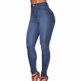 Wholesale Colored High Waist Denim Jeans - Wholesale- New Jeans Women Pencil Stretch Casual Denim Skinny Pants Elastic High Waist Jeans Trousers Female calca jeans feminina cintura a