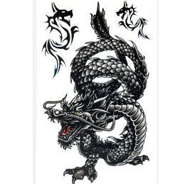 Wholesale Cool Dragon Tattoos - Wholesale- Black Cool Men Temporary Tattoo Creative Waterproof Sweat Dragon Temporary Tattoo Stickers 20.5x10cm