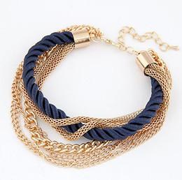 Wholesale Chain Wholesale Girls Dresses - 6 Colors Woman Bracelet Weave Chains Fashion Girls Women Accessory 2015 Lady Party Dress Bracelets Chain