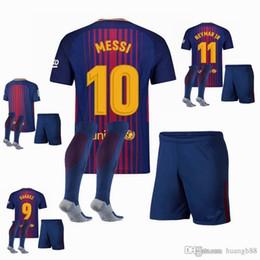Wholesale Waterproof Socks Free Shipping - free shipping 2017 2018 soccer jersey Adult coat + pants + socks Barcelonaes soccer jersey 17 18 MESSI NEYMAR JR SUAREZ A.ITIESTA shirt