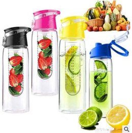 Wholesale Fruit Water Infuser - 800ml Plastic Sport Tritan Fruit Infuser Water Bottle Drink Water Lemon Juice Bicycle Health Eco-Friendly BPA Detox Bottle Flip Lid 27 OZ