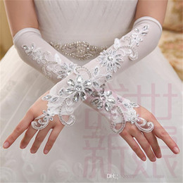 Wholesale Long Lace Fingerless Gloves - Fast Shipping Elegant Gorgeous Elbow Length Lace crystal Fingerless Appliqued Elastic Bridal Gloves Long Beading Wedding Gloves