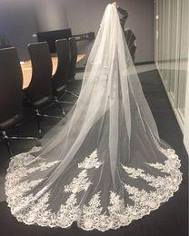 2019 bordi d'erba Velo da sposa in pizzo bianco avorio lungo un metro con velcro di velo