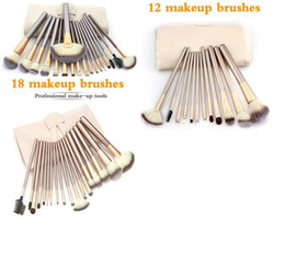 Wholesale Champagne Hair - Spot factory direct white Champagne Gold 12 18 24pcs makeup brushes makeup tools makeup brush sets