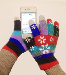 Wholesale Colorful Cotton Gloves - Wholesale- Winter Touch Screen Gloves Unisex Women Men Knitted Mittens snow print Snowflakes colorful Gloves Touchscreen Gloves