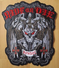 Wholesale Large Iron Patches - 10.6 inches large Embroidery Patches for Jacket Back Vest Motorcycle Biker Iron on Sword Skull RIDE OR DIE
