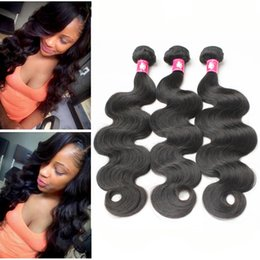 Wholesale Cheap Black Hair Pieces - Virgin Brazilian Hair Weaves Peruvian Body Wave Human Hair Bundles Malaysian Indian Soft Unprocessed Hair Weft 1B Black Remy Cheap Extension