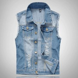Wholesale Garment Men - Wholesale- Men Light Blue Denim Vest Sleeveless Denim Jackets New 2017 Chest Flap Pockets Garment Washed Mens Ripped Jean Jackets