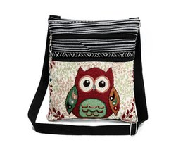 Wholesale Owl Shoulder Bags Women - Cute Owl Printed Canvas Crossbody Shoulder Bags Summer Female Casual Canvas Bags Owl Design Messenger Bag