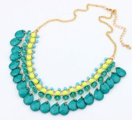 Wholesale Crystal Fresh Water - Wholesale-Fashion Lovely Fresh Bohemian Style Water-drop Pandent Plated Crystal beads Statement Necklace for Women Jewelry Accessories 827