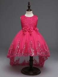 Wholesale Mopping Skirts - Summer Flower Girl Dresses Appliqued Sequin Sleeveless Baby Girl Children Party Dress Sweep Train Gowns Mop the Floor Skirt