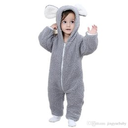 Wholesale Animal Fleece Rompers - Baby Fleece Romper Baby Boy Soft Clothes Cartoon Animal Jumpsuit Infant Hooded Outfit Warm Girl Rompers Baby Clothing