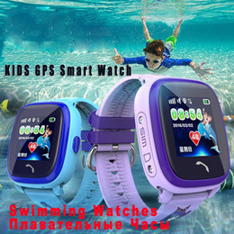 Wholesale Sos Devices - Waterproof DF25 Q100 Children GPS Swim touch phone smart baby watch SOS Call Location Device Tracker Kids Safe Anti-Lost Monitor PK Q90 Q60