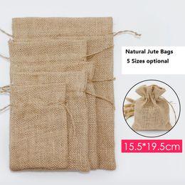 Wholesale jute gift bags wholesale - 15.5*19.5cm Natural Jute bags drawstring linen bag fine linen pouches gift pack