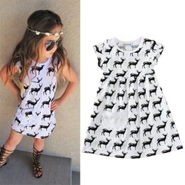 Wholesale Deer Print Dress - Kids Cartoon Clothing 2017 Fashion Deer Printed Princess Dresses For Girls Summer Childrens Party Casual Dress