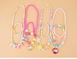 Wholesale Wholesale Kawaii Necklace - 4 Styles Kawaii Kids Necklace Bracelet Set For Sale Imitation Pearl Bead Choker for Girl Flower Hello Kitty Pendent Necklace