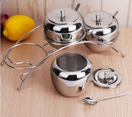Wholesale Stainless Steel Shaker Container - 3pic Kitchen Spice Jar Set Pot Stainless Steel Jars Containers Condiment Seasoning Storage Box With Spoon Kitchen Tools Accessories