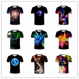 Wholesale Novelty Jellyfish - Mens Creative Colorful Rendering  Universe  Galaxy  Whirlpool Jellyfish Blue Planet 3D Print Summer Casual Short Sleeve T Shirts M578