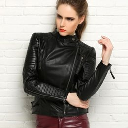 Wholesale Cool Motorcycle Women - 2016 New Autumen Winter Women 100% Real Leather Jackets Lady Genuine Cool Motorcycle Red Black Coat Outerwear Hot Sale