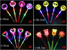 Wholesale Glow Led Toys Rose - LED Light Sticks Cartoon QQ emjoy glow stick Flashing Light Concert Party concert tool Novelty Led Toys Star Wand Rose Heart