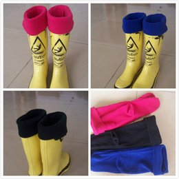 Wholesale Fleece Cuff - High Knitted Chunky Cable Cuff Fleece warm breathable rain boots socks sets of rain boots socks JC346