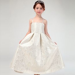 Wholesale Dance Party Princess Ball Gowns - Elegant Girls Dress Tulle Children Sundress Big Bowknot Belt Princess Kids Dresses Unique Girl Ball Gown Champagne Dance Party Dress A6479