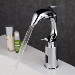 Wholesale Touch Free Sensor Tap - Dolphin Design Hot And Cold Automatic Hands Touch Free Sensor Faucet Bathroom Sink Tap Bathroom faucet Brass Material
