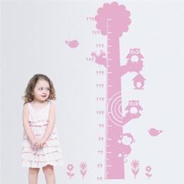 Argentina Búhos y mono en el árbol Medida de altura pegatinas de pared para habitaciones de niños Kids Growth Chart wall calcomanía Suministro