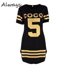 Großhandels- Art- und Weisefrauen-Sommer-Buchstabe-Druck COCO 5 Kleid-dünne Kurzhülse MiniO-Ansatz beiläufige Art-lose Kleid vestidos von Fabrikanten