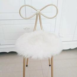 Wholesale Round Chair Cushions - 100% real sheepskin round shaped cushion , Sheepfur small rug 35*35cm Genuine natural white fur seat mat, fur chair mat
