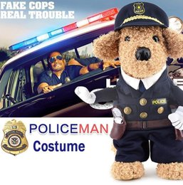 Wholesale Police Dog Coats - Policeman cosplay Costume Pet Police Suit Coat with Hat Dog cosplay Police suit Cats cosplay Costumes