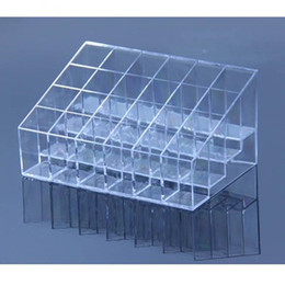 Venda por atacado-Hot Plastic Clear Trapézio Batom Titular 24 Quadrado Grade Cosmetic Box Brush Stand Rack Organizador Tidy de