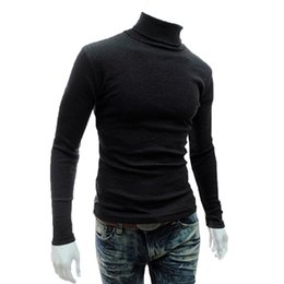 Wholesale Mens Thin Turtleneck - Wholesale- Shelikeit 2016 New Arrival Solid Sweater Men Casual Knitted Sweaters Mens Turtleneck Long Sleeve Pullovers Blusa Masculina XXL