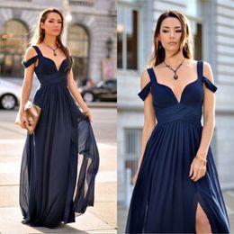 Wholesale Deep Purple Bridesmaids Dresses - New Navy Blue Prom Dresses 2017 A Line Plunging V Neck Side Split Bridesmaid Dresses Chiffon Formal Evening Party Gowns