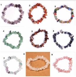 Wholesale Chip Bracelets Wholesale - 7 Chakra bracelets for women 15 colors Healing Crystals Natural Stone Chips Single Strand Women Bracelets Lazuli Reiki Bracelets For Women