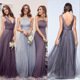 Wholesale Sex Long Gown - 2017 Newest Boho Bridesmaid Dresses for Garden Weddings A Line Sex V Neck Backless Tulle Long Maid of Honor Gowns Wedding Guest Dresses