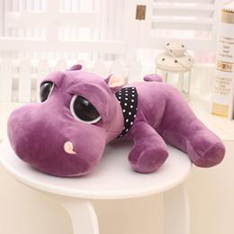 Wholesale Hippo Stuff - Wholesale- Purple Hippo Plush Toys Kawaii Hippo Stuffed Toys for Kids Soft Peluches Animales Big Eyes Hippo Kids Doll Baby Sleeping Pillow