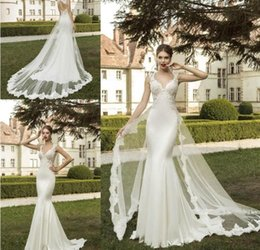 Wholesale Dress New Vestidos Noiva - 2018 New Elegant Detachable Two Pieces Wedding Dresses Mermaid Vestidos de Noiva Sexy V Neck Beaded Vintage Applique Tulle Bridal Gowns