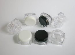 Wholesale Square Cream Cosmetic Jars - 100 x 3g plastic cosmetic jar, sample display square cream bottle PS material